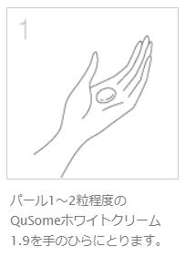 QuSomeホワイトクリームの1.9の使い方1