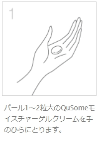 QuSomeモイスチャーゲルクリームの使い方1